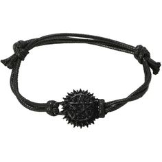 Black Butler Tetragrammaton Cord Bracelet | Hot Topic ($26) ❤ liked on Polyvore featuring jewelry, bracelets, bracelet charms, charm bracelet, charm jewelry, black rope bracelet and rope bracelet