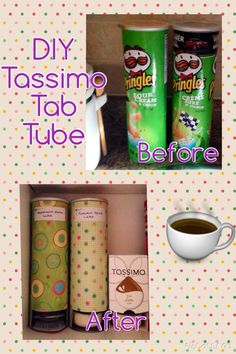 Reuse Pringles containers to organize your Tassimo discs