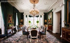 #French #Neoclassical style #dining room near New Orleans designed by Alexa Hampton