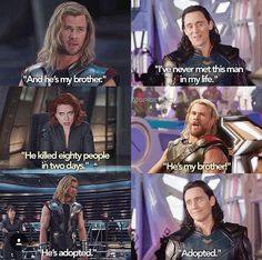 """He's adopted"" - Hahaha :D - Marvel - Thor and Loki"