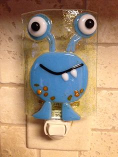 Nightlight Fused Glass Happy  Monster Light Blue by cheecheesglass, $21.00