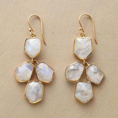 "MOONLIT QUARTET EARRINGS--In our exclusive moonstone chandelier earrings, quartets of luminous moonstone glow in striking 18kt goldplate. 2""L."