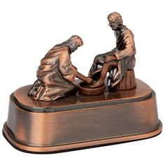"""Detailed ornament depicting Yeshua / Jesus washing the disciple Peter's feet. Made from cast alloy. Antique look. Size: 3 x 1.8 inches. """"..Jesus answered him, If I wash thee not, thou hast no part with me."""" (John 13:8) Shipped direct from the Holy Land."""