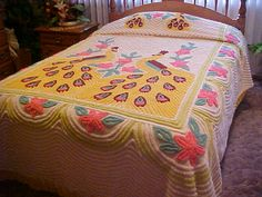 Yellow peacock chenille bedspread with vivid colors by designer2, $239.00