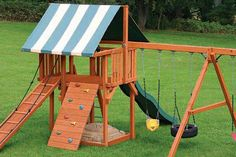 Stain your playset regularly to help prevent severe splitting and other damage caused by weather. Save time by using stain with a spray tip. #DIY