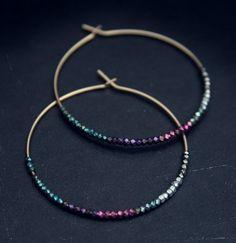 Babette gold beaded multi colored hoop earrings via Etsy.