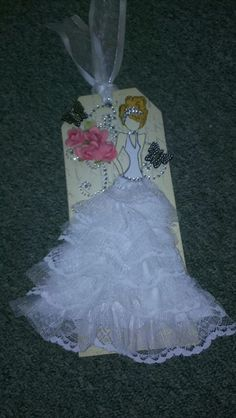 This is one of the new Julie Nutting doll stamps from @Alex Leichtman Prima Marketing .  She is a bride, but add the wings and she could be an angel!