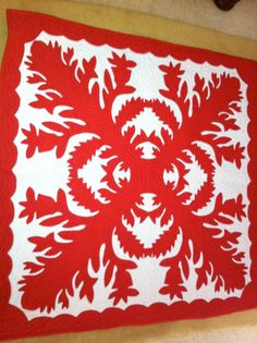 Red and White Hawaiian Quilt Baby Blanket Wall Hanging-TREASURY ITEM. $200.00, via Etsy.
