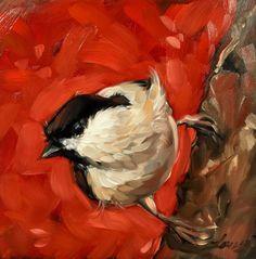 Marsh Tit painting Original impressionistic oil by LaveryART