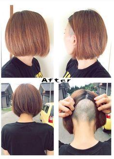 #hairdare #women #bob #undercut Undercut Styles, Undercut Women, Undercut Hairstyles, Sexy Bob Haircut, Pixie Haircut, Shaved Nape, Shaved Sides, Medium Hair Styles, Short Hair Styles