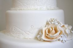 broderie anglaise eyelet lace wedding cake design from The Cake That Ate Paris