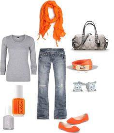 """""""casual orange accents"""" by mirapaigew on Polyvore"""