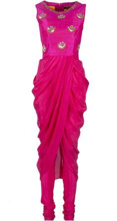Embroidered hot pink drape by TISHA SAKSENA. http://www.perniaspopupshop.com/whats-new/tisha-saksena-embroidered-hot-pink-drape-tsc0913t21pkdr.html
