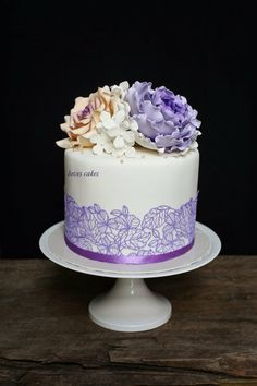 Sugar Peonies and  rose  Cake with hand painted bottom design