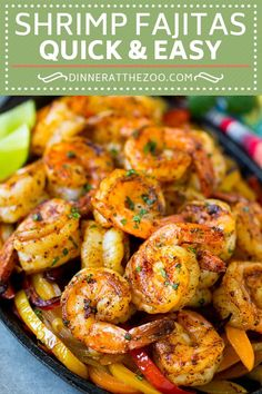 Simple Dinners to Make in a Cast Iron Skillet Tonight Shrimp Fajitas Recipe Mexican Shrimp Mexican Fajitas Shrimp Fajita Recipe, Mexican Shrimp Recipes, Shrimp Fajitas, Fish Recipes, Seafood Recipes, Dinner Recipes, Cooking Recipes, Healthy Recipes, Skillet Recipes