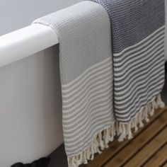 Trouva Hand Loomed Hammam Towels - Grey & Cream
