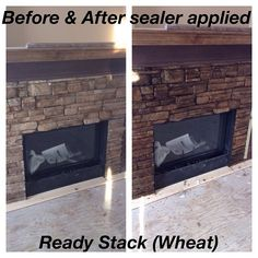 Ready Stack (Color: Wheat) #fireplace before & after applying sealer. www.KodiakMountain.com #kodiakmountainstone #beforeandafter #renovation #diy #calgary #lethbridge stonework #masonry Deer Park, Wet Look, Long Island, Natural Stones, Home Improvement, How To Apply, Mountain, Exterior, Instagram Posts