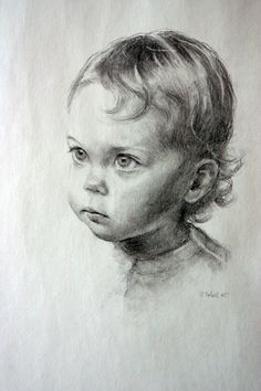 """""""Baby Lilah"""" -- by Christy Talbott Portraits * Pencil Portrait Drawing, Pencil Sketch Drawing, Portrait Sketches, Pencil Art Drawings, Face Sketch, Portrait Art, Art Sketches, Painting & Drawing, Drawing Ideas"""