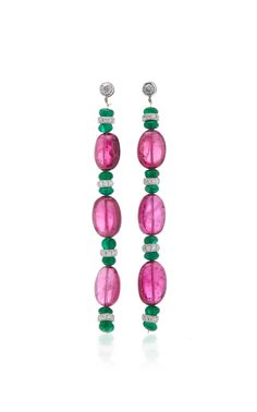 Shop Tourmaline And Emerald Earrings. From Eleuteri's collection of vintage and antique treasures, these drop earrings highlight six pink tourmaline beads spaced between 14 emerald beads and two brilliant-cut diamonds and eight diamond rondelles. Tourmaline Earrings, Emerald Earrings, Pink Tourmaline, Dangle Earrings, Color Theory, Vintage Antiques, Diamond Cuts, Jewelery, Creations