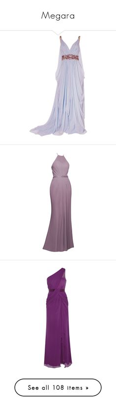 """Megara"" by disneydressing ❤ liked on Polyvore featuring dresses, gowns, long dresses, purple, vestidos, purple evening dresses, halter neck dress, halter gown, chiffon dresses and purple halter dress"
