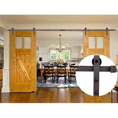 13 FT Country Dark Coffee Steel Sliding Barn Wood Door Hardware Black Antique