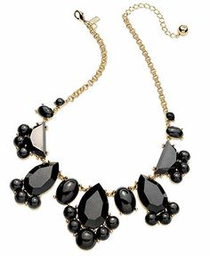 Kate Spade New York Gold-Tone Black Stone Frontal Necklace