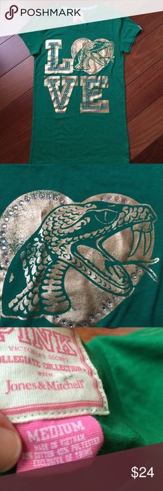 NWOT VS Pink T size M Fitted M but has stretch. Gold decal with rhinestones. Never worn washed or tried on! Pic leans dark green this is more of a full leaf green. PINK Victoria's Secret Tops Tees - Short Sleeve