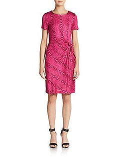 Diane von Furstenberg Zoe Silk Tree Ring-Print Sheath Dress - Grain Sh