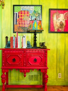 green walls  from Eclectic Farm House