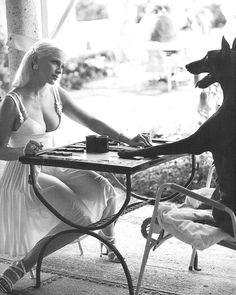 """this is an old Versace campaign, that entails Dobermans are very intelligent. And believe it or not, that is Madonna on the left. """" i bet the dobe took this game.."""""""