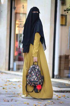 Hijab Gown, Hijab Style Dress, Hijab Outfit, Hijab Niqab, Abaya Style, Niqab Fashion, Skirt Fashion, Fashion Outfits, Hijabi Girl