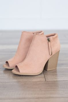 Side Zipper Peep Toe Bootie - Blush - Magnolia Boutique