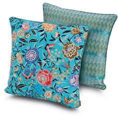 Missoni Home Sierre Sausalito Cushion - 174 - 40x40cm ($290) ❤ liked on Polyvore featuring home, home decor, throw pillows, multi, metallic throw pillows, floral throw pillows, blue accent pillows, green toss pillows and green throw pillows