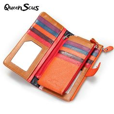 Women Fashion Genuine Leather Wallet High Quality Lovely Clutch Money Card & ID Holder Ultra-thin Casual Long Cowhide Purse Cowhide Purse, Cowhide Leather, Cow Leather, Leather Purses, Leather Wallet, Purse Brands, Womens Purses, Long Wallet, Clutch Wallet