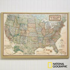 Create a professional executive gift with the Personalized Canvas United States Maps for Executives from National Geographic. Find the best personalized office gifts at PersonalizationMall.com
