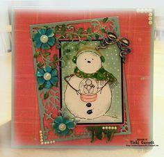 Vicki G Stamps: Impression Obsession Designer Thursday--Christmas Tag Snowflake Background Holly Flourish...Snowglobe Love