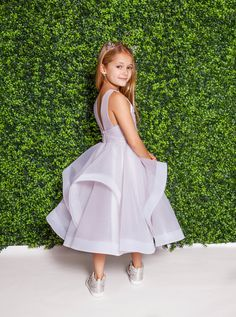 Style 5823 Dora La Petite by Hayley Paige flower girl dress - Alabaster tulle mini-ball gown, illusion bateau neckline and cascading tulle skirt. Available in: Alabaster, Ivory and Rose Water Bridesmaid Flowers, Brides And Bridesmaids, Bridesmaid Dresses, Wedding Dresses, Wedding With Kids, Wedding Looks, Dream Wedding, Wedding Ideas, Pretty Little Girls