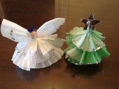 Holiday Craft / tree and angel / coffee filter craft