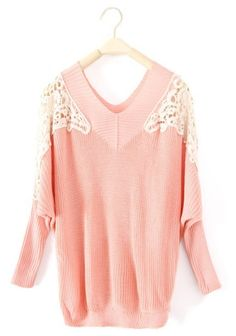 Pink Long Sleeve Hollow Embroidery Pullovers Sweater