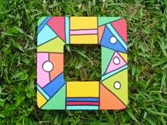 Hand Painted Wooden Frame Abstract Geometrical
