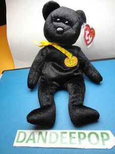 "TY Beanie Baby Babie Haunt Black Halloween Original Bear 2000 with tags 9""  find me at www.dandeepop.com"