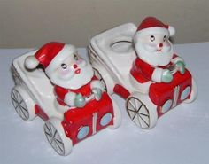 Holt Howard Christmas Santa Claus in Car Candle Holders