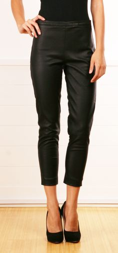 Piazza Sempion Black Leather Cropped Pants