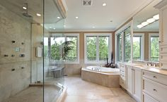 Will you look at that shower!  And the view MUST come with this, yes?  :-)