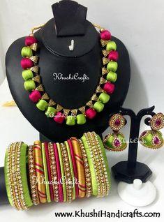India's Exporter of Silk Thread Jewellery/Silk Thread Bangle Kada and Earrings,Designer Silk Thread Necklace Set,Silk Thread Jewelry Set and Silk Thread Bangles Silk Thread Jumkas, Silk Thread Bangles Design, Silk Thread Necklace, Silk Bangles, Thread Jewellery, Beaded Jewelry, Handmade Jewelry, Thread Art, Diy Jewellery