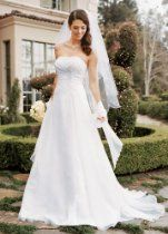 David's Bridal Wedding Dress: Chiffon A-line Gown with Side Draped Bodice Style V9409