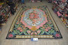 Beautiful kilim rug with pink. Handmade in Moldova.