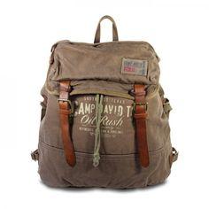 mynewbag.de - #CAMP DAVID Wolf Creek #Canvas & Leder großer #Rucksack Back Pack khaki