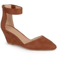 Women's Journee Collection Kova Faux Suede Ankle Strap Pointed Toe Wedges - Tan 7.5
