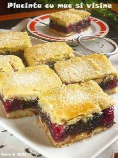 placinta-cu-mac-si-visine-1 Romanian Desserts, Romanian Food, Cake Recipes, Dessert Recipes, Good Food, Yummy Food, Artisan Food, Different Cakes, Sweet Pastries